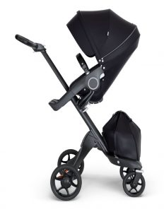 StokkeXplory V6 Black Chassis Stroller with Black Leatherette Handle
